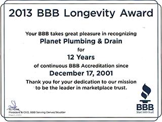 bbb longevity award green plumbers boulder